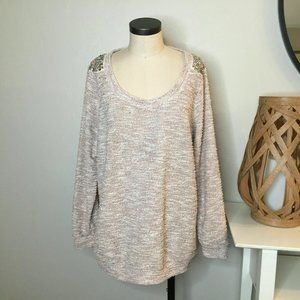 Maurices + Sweater 2X Pink Beaded Rhinestone